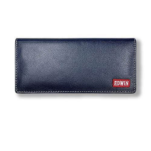 全5色!EDWIN(エドウィン)リアルレザースリムロングウォレット 2つ折り 長財布(0510556) (ネイビー)