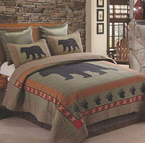 Virah Bella Collection Phyllis Dobbs Bear and Paw Polyester Full/Queen Patchwork Quilt Bedding Set with 2 Standard Shams