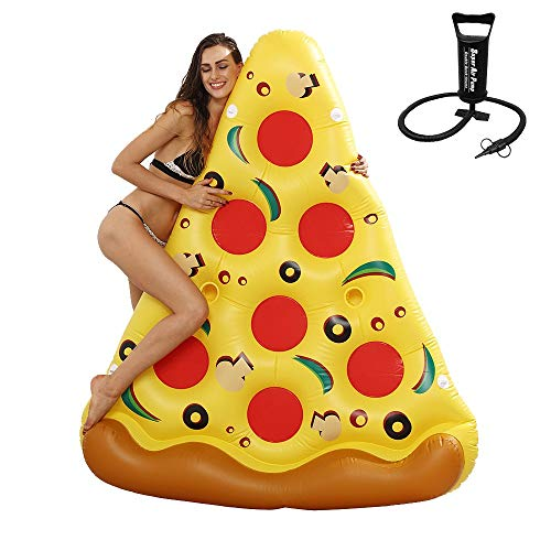 ZEDMA Colchoneta Hinchable Flotador de Piscina Gigante con Forma de porción de Pizza para la Piscina, de 1,8 Metros de Largo