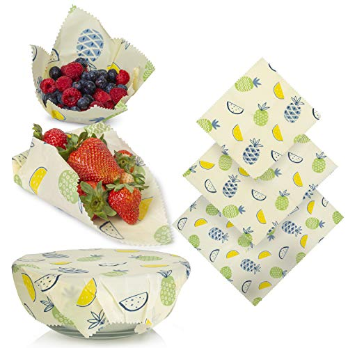 Savourio Reusable Beeswax Food Wrap - Eco-Friendly, Organic, Biodegradable Sustainable - Food Storage Wrappers, Alternative To Plastic Bags, Beeswax Cloth, Organic Beeswax Wraps Cling Sandwich
