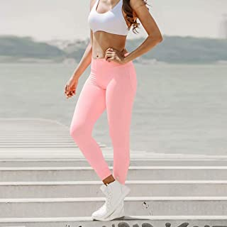 Yoga Sports Leggings Tight Fitness Pants were Thin Female Moisture Wicking Breathable,Pink(XL)