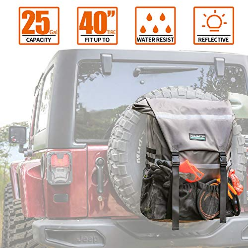 ALL-TOP Overland Series Spare Tire Trash Bag (Rhino Grey) - Tool & Gear Organizer for Outdoor Off-Road Expedition - Fit up to 40'' Tire
