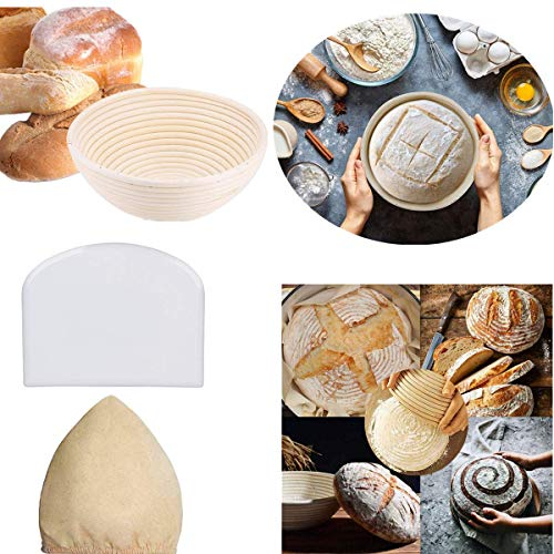 9 Inch Bread Proofing Basket Bread Baking Tools for Home Baker Bread Lame Dough Scraper Proofing Cloth Liner Baking Dough Bowl Food Storage Basket Scraper Tool 9quot Basket Round