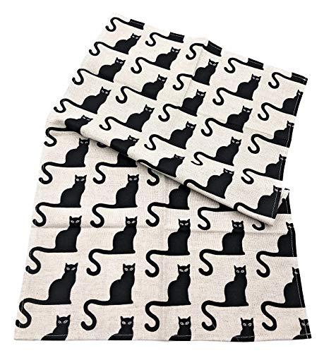 JOWOLLINA 2er-Set: Geschirrtücher Küchenhandtücher Handtücher Katze schwarz 47x70 cm Halbleinen Bedruckt