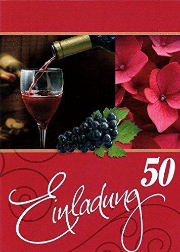 Uitnodigingskaarten 50e verjaardag vrouw man met binnentekst motief rode wijn 10 vouwkaarten DIN A6 staand met witte enveloppen in set verjaardagskaarten uitnodiging 50 verjaardag man vrouw K133
