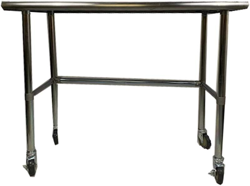 Heavy Duty Stainless Steel Prep Work Table With Crossbar 24 X 60 And Casters Wheels NSF