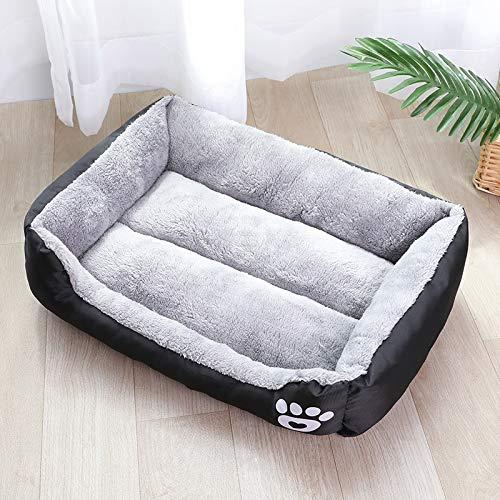 (S-3XL) Cama grande para perro de gato, 8 colores, cálida y acogedora casa de perro, suave forro polar, cestas de casa, alfombra de otoño e invierno impermeable L (80 x 65 x 17) cm negro