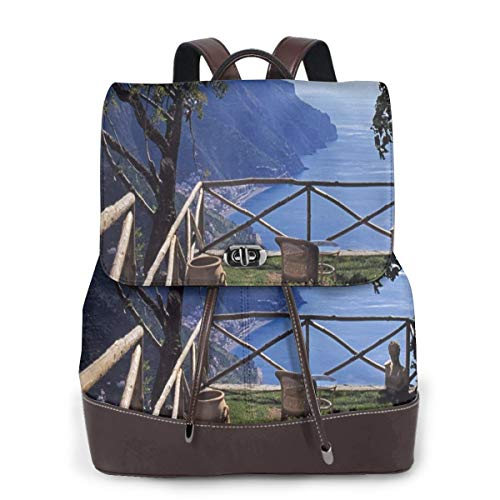 Women's Leather Backpack,Mediterranean Scenic View Mountain Cliffs Sea Coast Travel Destination Art,School Travel Girls Ladies Rucksack