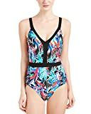 Jantzen Women's Tropic Nights V Neck One Piece Swimsuit, Black, 10