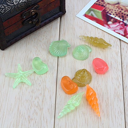 Pangding Aquarium Decoraties, 10 STKS Glow in the Dark Pebbles Lichtgevende Zee Conch Shell Fish Tank Decor
