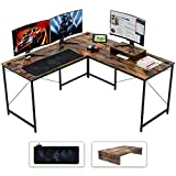 Bestier L-Shaped Computer Desk, 95.2' Two Person Large Gaming Office Desk with Map RGB Mouse Pad,L-Shaped or Long Desk Two Method with Free Monitor Stand, Home Writing Desk Table Rustic