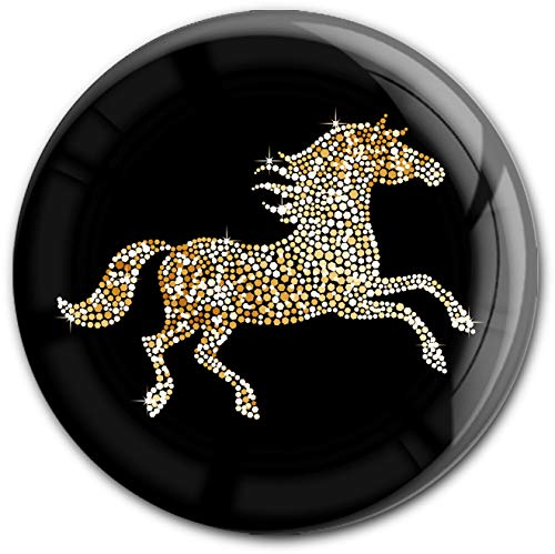 metALUm runder Acrylmagnet mit starkem Neodym - Magnet Pferd in Gold #1301116