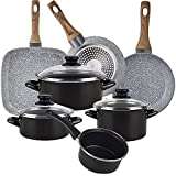Magefesa Bateria de cocina 7 piezas MAGEFESA Kenia de acero esmaltado con juego de sartenes (18/22 cm) y grill 28x28 Daimiel en aluminio forjado