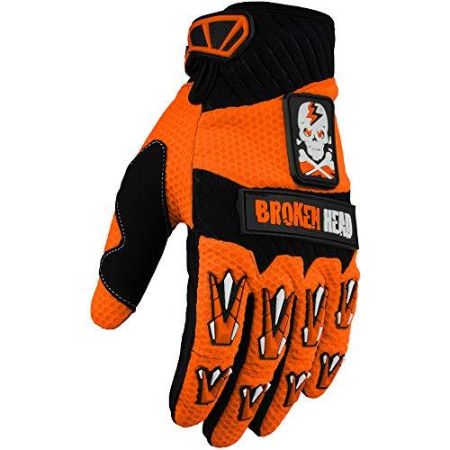 Broken Head MX-Handschuhe Faustschlag - Motorrad-Handschuhe Für Motocross, Enduro, Mountainbike - Orange - Größe M