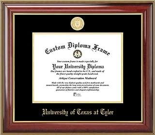 Laminated Visuals University of Texas at Tyler Patriots - Gold Medallion - Mahogany Gold Trim - Diploma Frame