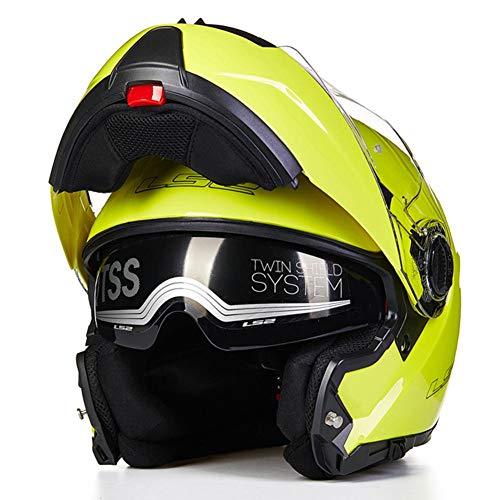 WUYEA Casque De Moto avec Lunettes Doubles Casques Intégraux Anti-Buée pour Hommes Et Femmes,Yellow,L