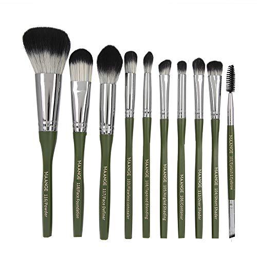 HWhome Eye Makeup Brushes 10 Pcs Makeup Brushes Premium Synthetic Concealers Foundation Powder Eye Shadows Makeup Brushes Set(Green)