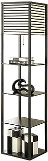 -Lampe de solon LED Shelf Lampadaire avec 4 Affichage étagères de rangement Salon moderne Chambre Chambre chevet d'angle L...