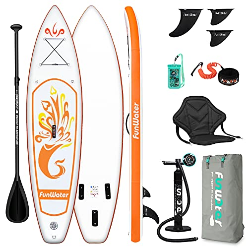 FunWater SUP Inflatable Stand Up Paddle Board 10'x31''x6'' Ultra-Light Inflatable Paddleboard with ISUP Accessories,Fins,Adjustable Paddle, Pump,Backpack, Leash, Waterproof Phone Bag,Kayak Seat