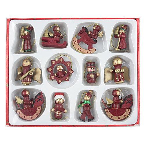 eBuyGB Cavallo a Dondolo/Drum Giocattoli/Angel Tradizionale Set di Decorazioni per Albero di Natale, Legno, Rosso, 15.6x 11.99x 1.8cm