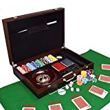 LANGWEI Set di Fiches da Poker 5-in-1 per Texas Hold'em, Blackjack, Gioco D'Azzardo con Fiches Composte da 200 Pezzi con Custodia, Carte, Bottoni E Fiches da Casinò Stile Dadi,A
