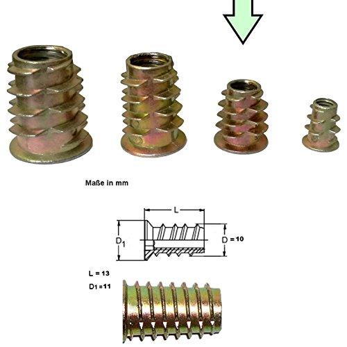 12x Stahl Gewindemuffen galvanisch verzinkt - Stabiler M4 M6 M8 Gewindeeinsatz ideal für Arbeiten im Holzbereich (M6)