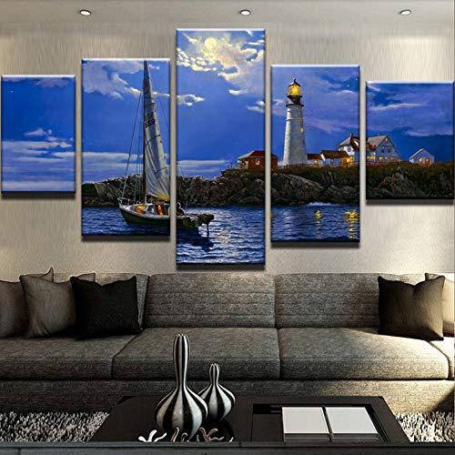 Gbwzz 5 stuks schilderijen op canvas decoratie afbeelding canvas Wall Art Home Modulaire frame 5 panelen koplampen en boot woonkamer HD Poster Modern Schilderen No Frame 20x35 20x45 20x55cm