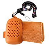 Bamboo Microfiber Cooling Towel & Silicone Pod with lanyard - Cooling towel/ neckband/