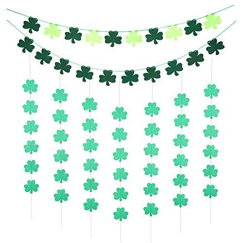 Mialang St. Patrick's Day Shamrock decoraties Shamrock opknoping slinger met vilt shamrock Bunting slinger klaver Banner