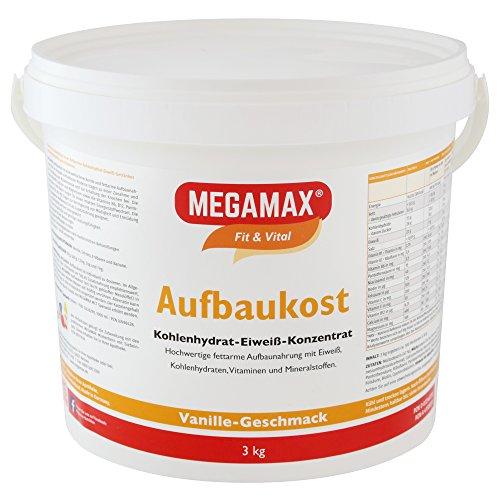 MEGAMAX Aufbaukost Vanille 3 kg- Ideal zur Kräftigung und bei Untergewicht. Proteinpulver zur Zubereitung eines fettarmen Kohlenhydrat-Eiweiß-Getränkes für Muskelmasse u. Muskelaufbau Gewichtszunahme