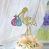 Decoración para tarta de cigüeña, para fiestas gemelas, bebés, cigüeñas, baby shower, gemelos, niñas, gemelos, niños, bebés, revelación de género de bebé