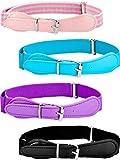 4 Piezas de Cinturón Elástico Ajustable de Niños con Cierre de Cuero para Niñas y Niños, Colores Variados (Conjunto de Colores 2)