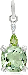 3.5ct REAL Green Amethyst, Peridot & White Topaz Sterling Silver Pendant