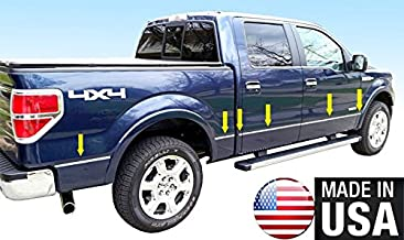 Made in USA! Works with 2009-2014 Ford F150 Crew Cab 5.5' Short Bed W/Fender Flare Groove Insert Rocker Panel Chrome Stainless Steel Body Side Moulding Molding Trim Cover 1/2