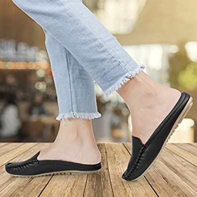 Fitshoe Open Back Loafer Mules Light Weight Casual Belly Ballet Flat Shoes for Womens and Girls