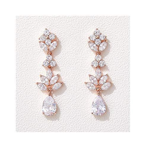 SWEETV Rose Gold Teardrop Wedding Earrings for Brides Birdesmaid, Crystal Cubic Zirconia Bridal Drop Earrings for Women Prom, Silver