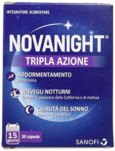 Novanight Tripla Azione Integratore alimentare aiuta a ritrovare il ciclo naturale del sonno con Melatonina, estratti di Papavero della California e Melissa e con...