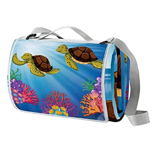 Vito546rton Impermeable portátil al aire libre dos tortugas natación coral océano impresión picnic manta Mat con correa para acampar senderismo hierba viajes 57x59in