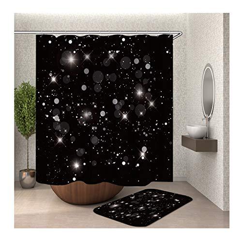 Anwaz Duschvorhang & Badteppich Set Anti-Schimmel aus Polyester Nacht Himmel Stern Muster Design Bad Vorhang Duschvorleger Bunt mit 12 Duschvorhangringen für Badewanne - 165x180CM/ 40x60CM