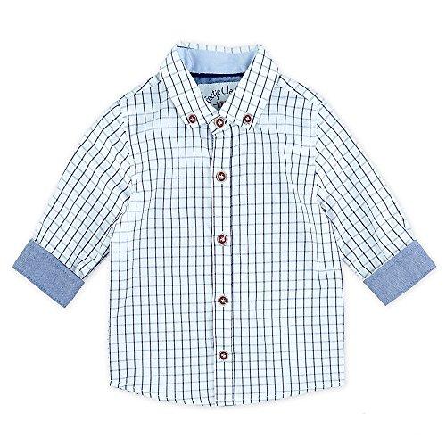 Feetje Feetje Baby-Jungen Hemd klassisches Hemd Langarm, Blau kariert (Marine 010), 80