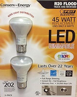 7 Watt R20 LED Dimmable Flood Light Bulbs 2-Pack (equiv to 50 watts)