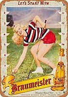 ホーム装飾記号贈り物1948 Braumeisterビールゴルフピンアップ再生レトロビンテージブリキサイン