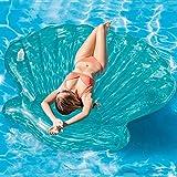 Vatocu Blue Sea Shell Pool Mattress Swimming Pool Float Inflatable Seashell Float Seashell Pool Beach Toys Summer Fun Inflatable Seashell Float for Adults (Blue Scallop)