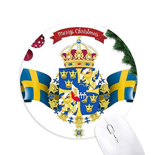 Schweden Nationales Emblem Land Symbol Rund Gummi Maus Pad Weihnachtsbaum Mat