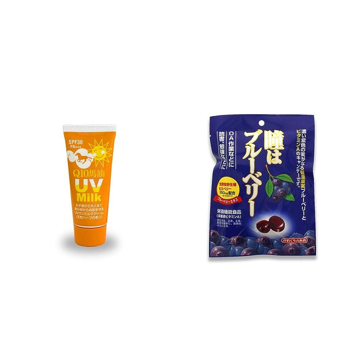 ドナー忠誠件名[2点セット] 炭黒泉 Q10馬油 UVサンミルク[天然ハーブ](40g)?瞳はブルーベリー 健康機能食品[ビタミンA](100g)