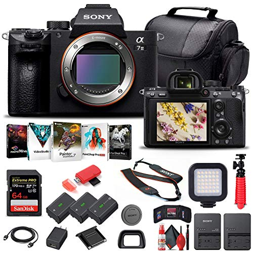 Sony Alpha a7 III Mirrorless Digital Camera (Body Only) (ILCE7M3 B) + 64GB Memory Card + 2 x NP-FZ-100 Battery + Corel Photo Software + Case + Card Reader + LED Light + More (Renewed)