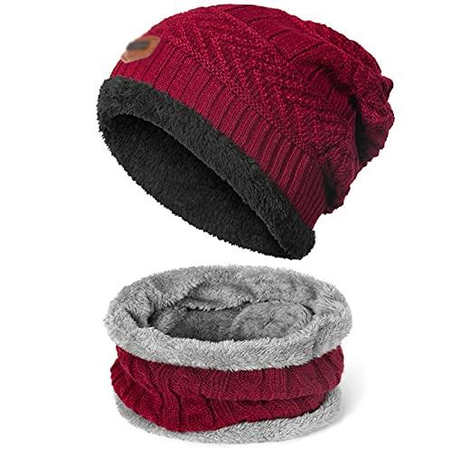 MWYS 2 Pezzi Inverno Cappello Sciarpa Set Inverno Warm Beanies Cappello Sciarpe Maschili Inverno Set di Inverno Maschio Accessori Caldi di Cotone Spesso (Color : B)