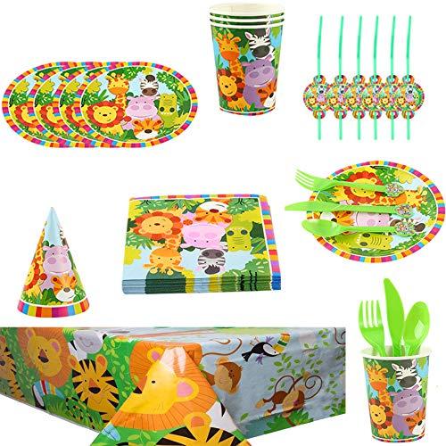 Jungle Animal Party Supplies Vajilla Diseño Animal Desechable para Tema Forestal Incluye Platos Tazas Manteles Servilletas Gorro Cuchillos Cucharas Tenedores Pajitas para Niños
