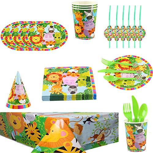 Jungle Animal Party Supplies Vajilla Diseño Animal Desechable para Tema Forestal Incluye Platos Tazas Manteles Servilletas...