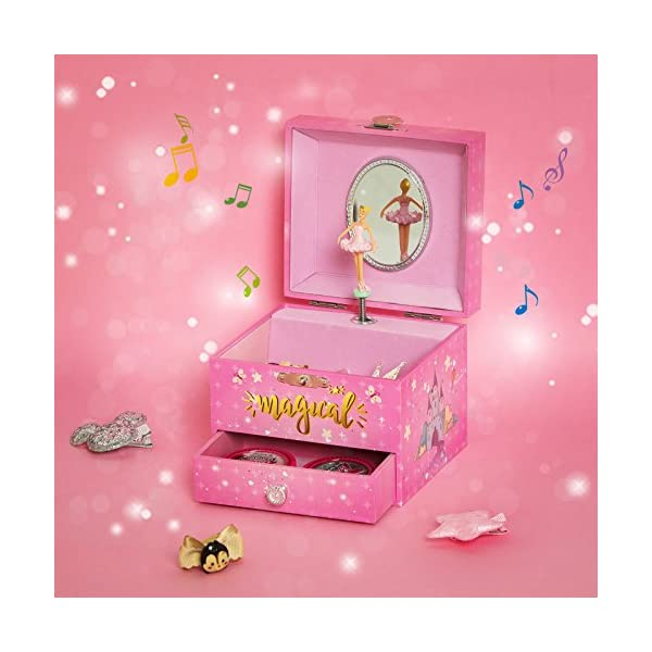 "SONGMICS Musical Jewelry Box, 4.7""L x 4.3""W x 3.9""H, Pink 7"